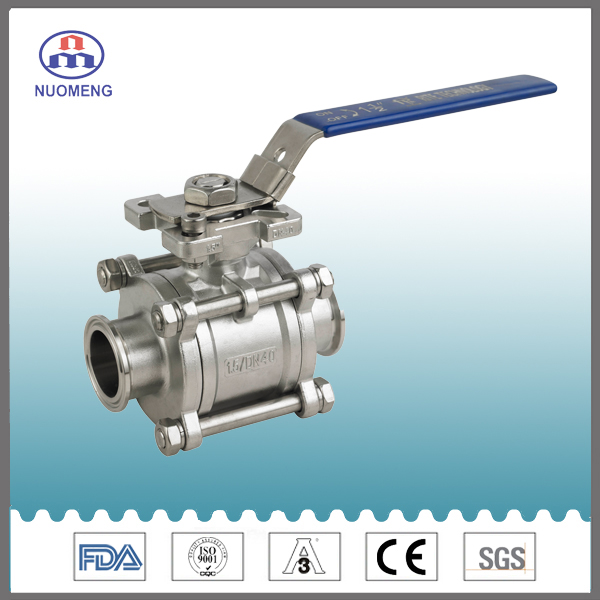 Sanitary Stainless Steel Clamped Three-Pieces Ball Valve