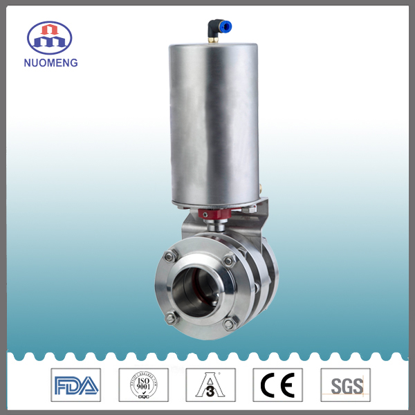 Sanitary Stainless Steel Pneumatic Clamped Butterfly Valve