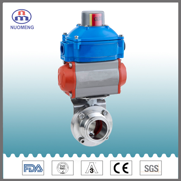 Sanitary Stainles Steel Nc Clamped Pneumatic Butterfly Valve
