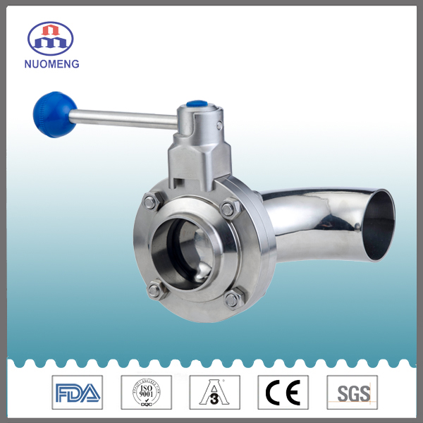 Sanitary Stainless Steel Manual Elbow Type Butterfly Valve