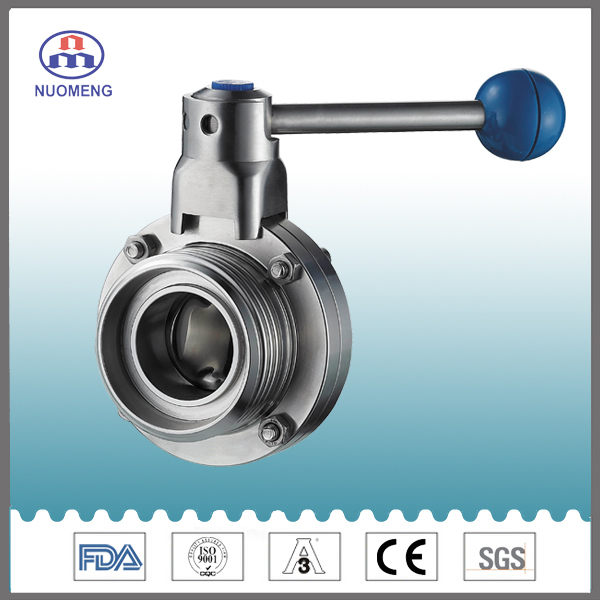 Sanitary Stainless Steel Union Threaded Butterfly Valve