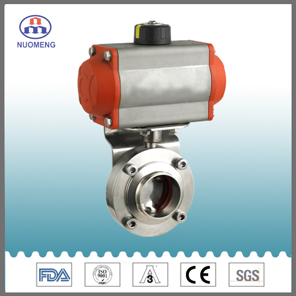 Sanitary Stainless Steel Horizontal Type Pneumatic Butterfly Valve