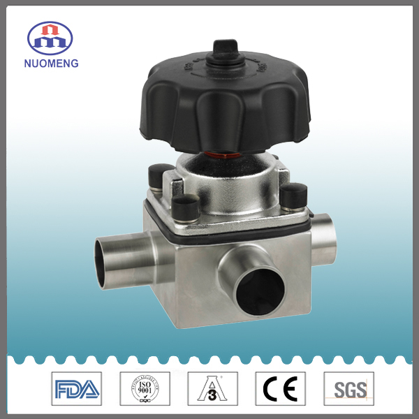 Sanitary Stainless Steel Three-Way Manual Welded Diaphragm Valve