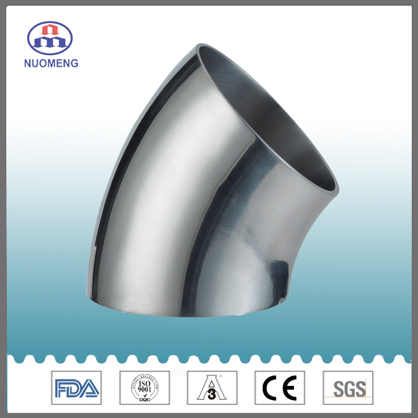 Sanitary Stainless Steel 45deg Welded Elbow