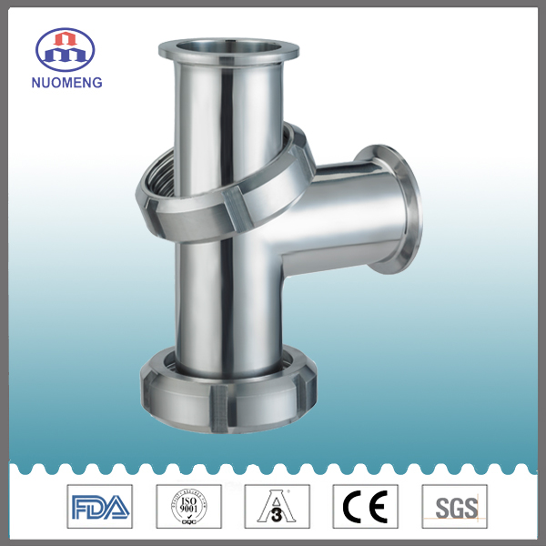 Sanitary One Side Threaded Two Side Nut-Type Tee Pipe Fitting