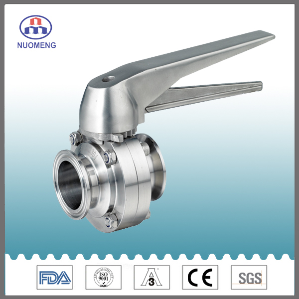 Sanitary Stainless Steel Multiposition Handle Clamped Butterfly Valve