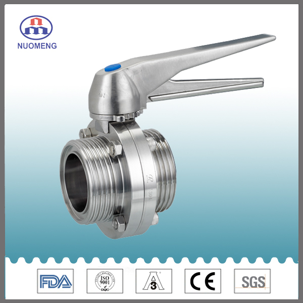 Sanitary Stainless Steel Welded -Threaded Butterfly Valve